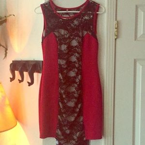 Dresses & Skirts - Red and black lace cocktail dress